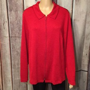 Laura Ashley Red Zippered Front Slinky Jacket 2X